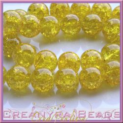 Maxi sfera 14 mm in vetro crackle giallo