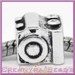 Perla foro largo macchina fotografica  in metallo argento antico