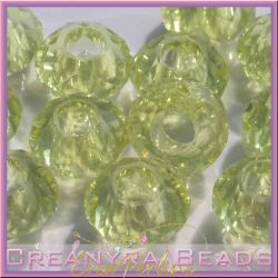 4 Pz Perla foro largo mezzo cristallo briolette crystal giallo 15x8 mm