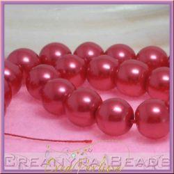 10  Pz  perla in vetro cerato 14 mm rosso lampone