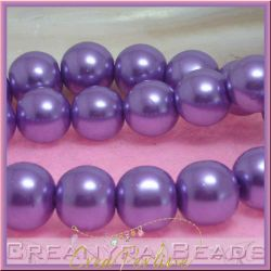 10  Pz  perla in vetro cerato 14 mm lilla