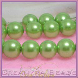 10  Pz  perla in vetro cerato 14 mm verde acido