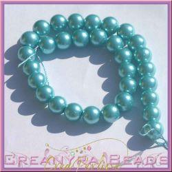10  Pz  perla in vetro cerato 14 mm azzurro