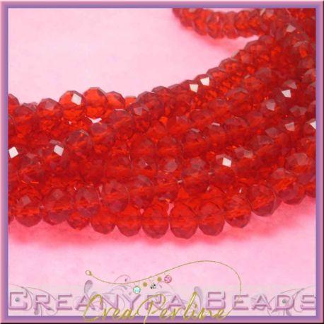 10 pz Rondella briolette mezzo cristallo Rosso 8 mm