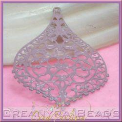 Filigrana smaltata Goccia Barocca Rosa Antico 8x5 cm