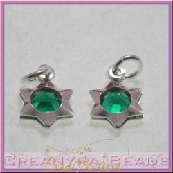 Ciondolo Charms Stella con  Cristallo Smeraldo in argento .925