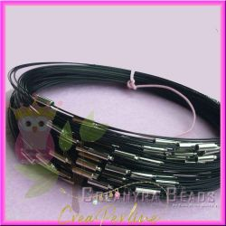 Girocollo memory wire choker acciaio nero 46 cm