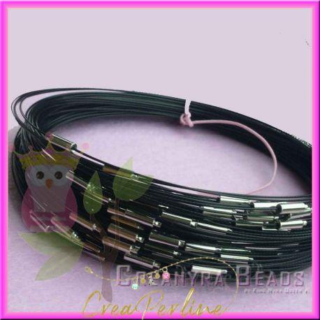 3 Pz Girocollo memory wire acciaio choker nero 46 cm