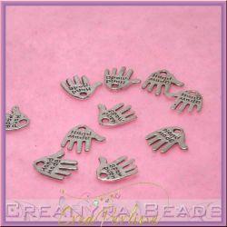 20 pz Charms ciondolo Hand made forma di mano 12 mm argentata