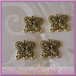 Base orecchini Candeliere Farfalla 3+1 asole dorato antico