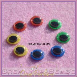 100 Pz Occhietti tondi movibili 8mm mix color