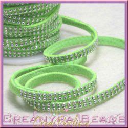 1 Mt Piattina in alcantara Verde Neon 5 mm micro borchiata silver