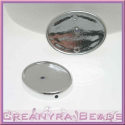 Base Cabochon soft touch 25x18 Argento (1Pz)