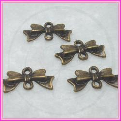10 Pz link fiocco in metallo tono bronzo 20x8 mm