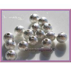 10 Pz Perla Sfera stardust 8 MM Argentata