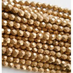 50 Pz Perle Cristallo fire polish Oro Matte metallic flax  4 mm