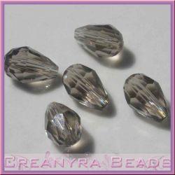 5 Pz Goccia in cristallo Briolette Fumo16x10 mm