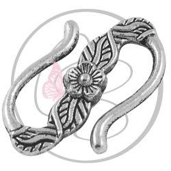 5 Pz Chiusura uncino fiore  in metallo tono argento antico