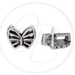 Perla Farfalla intermezzo per piattine in metallo argentato antico