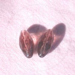 Perla Ovale in vetro sfaccettato colore viola 30x14mm