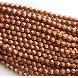 50 Pz Perle Cristallo fire polish Metallic Copper  4 mm