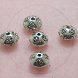 5 Pz Perla distanziatore rondella fiorita in metallo tono antico 10 mm