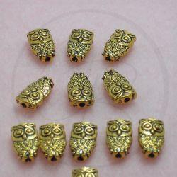 12 Pz Perla distanziatore Gufo in metallo tono oro antico 10 mm