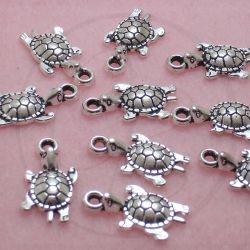 10 Pz Charms Ciondolo Tartaruga in metallo argento antico