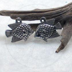 6 Pz Charms Ciondolo Pesce Balestra 3d in metallo argento antico