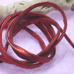 1 Mt Fettuccia elastica tubolare in tessuto metal Rosso 303