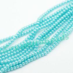 1 Filo perle in vetro cerato Azzurro 4 mm (oltre 220 perle)