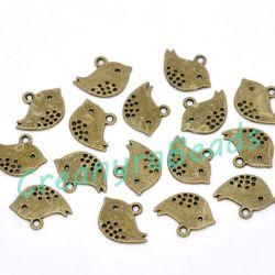 10 Pz Ciondolo Charms Uccellino 16x13mm in metallo tono bronzo antico