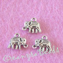 10 Pz Ciondolo Elefante portafortuna 3 d in tibetano