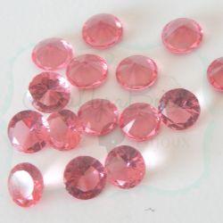 50 Pz Strass Rosa Geranio 8 mm taglio diamante in acrilico (resina trasparente rosa)