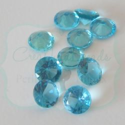 50 Pz Strass Blue Zircon 8 mm taglio diamante in acrilico (resina trasparente Blue Zircon)
