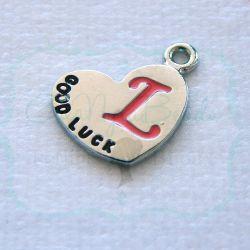 Charms ciondolo Lettera L Cuore specchio 13x18 mm
