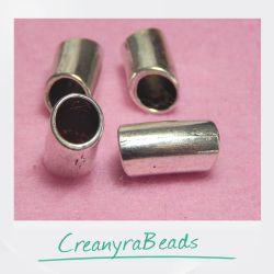 10 pz Distanziatore cilindro liscio semicurvo 14x8mm tono argento antico
