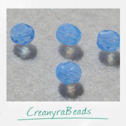 20 Pz Perle Cristallo fire polish Milky Sapphire 6 mm