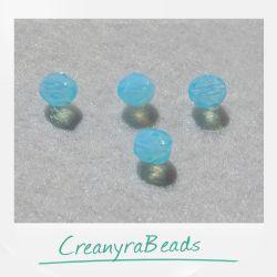20 Pz Perle Cristallo fire polish Milky aquamarine (azzurro) 6 mm