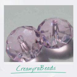 20 Pz Rondella briolette mezzo cristallo Rosa luster 4 mm
