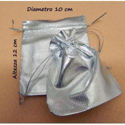 10 Pz Sacchetti in tessuto metal silver 12X10cm