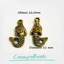 6 Pz Charms ciondolo Sirena 3 d 23 mm in metallo tono oro antico