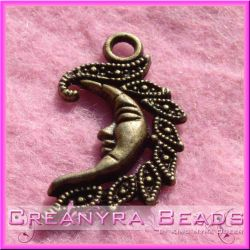 50 Pz Charms Ciondolo Luna in metallo tono bronzo 26x13 mm