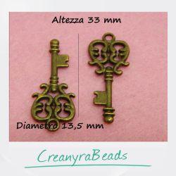 6 pz Ciondolo Chiave Gotica 33x13.5 mm metallo tono bronzo