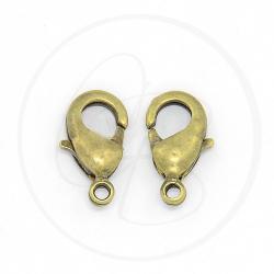 12 Pz Chiusura moschettone a pera bronzo verde 12 mm