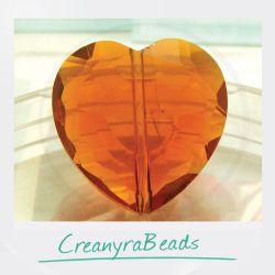 Perla Cuore Caramello in mezzo cristallo sfaccettato 22 mm