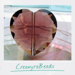 Perla Cuore Ametista in mezzo cristallo sfaccettato 22 mm