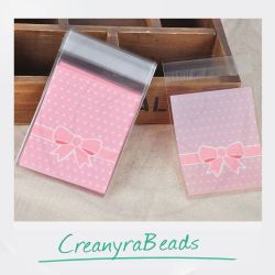 10 Pz Sacchetto regalo cellophane Adesivo Fiocco  rosa pois bianco