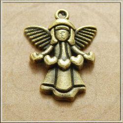 Charms ciondolo Silhouette Angelo cuore in metallo tono argento antico 16 mm
