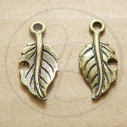 Charms ciondolo Foglia in metallo bronzo 24 mm